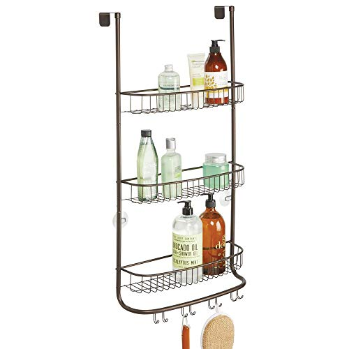 Bronze Wall Mount Shower Door - mDesign Metal Wire Over Shower Door Caddy, Bathroom Hanging Storage Organizer Center - Built-in Hooks and 3 Shelves for Shower Stalls - Holds Shampoo, Body Wash, Loofahs, Razors, Extra Large - Bronze