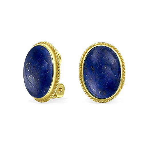 7 CTW Oval Blue Lapis Gemstone Rope Cable Bezel Setting 14K Gold Plated Sterling Silver Clip On Earrings Clip is Alloy