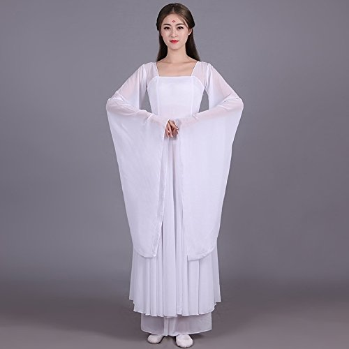 han Tang Dynasties Classical Dance Costume han Chinese Clothing Women Girls Wide Sleeves Stream Cents Skirt Fairy Costume Chinese Dance Performances Cool Show (bob White Ribbon Feeding Paste Earrings]()