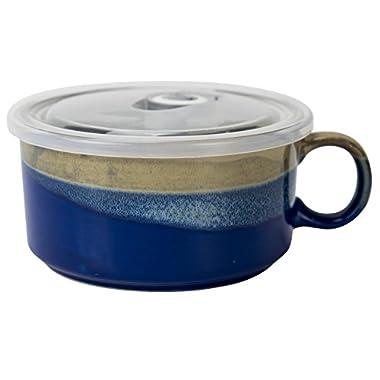 Boston Warehouse 22-Ounce Souper Bowl Deep Blue Stoneware Mug with Lid
