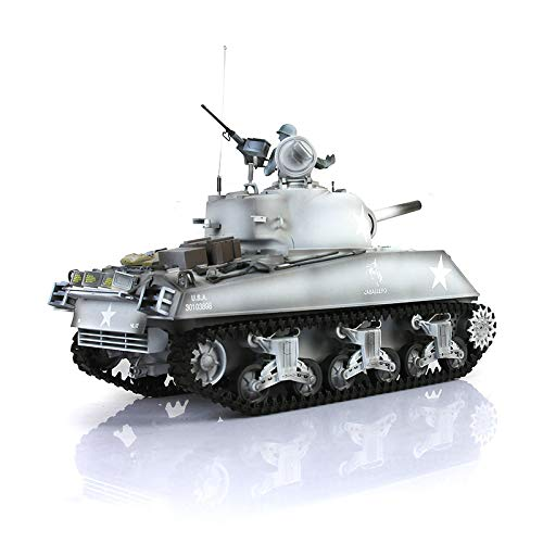1/16 Scale Remote Control RC Tank, HengLong 1/16 Scale Winter Snow USA M4A3 Sherman RTR RC Tank Upgraded Metal 3898
