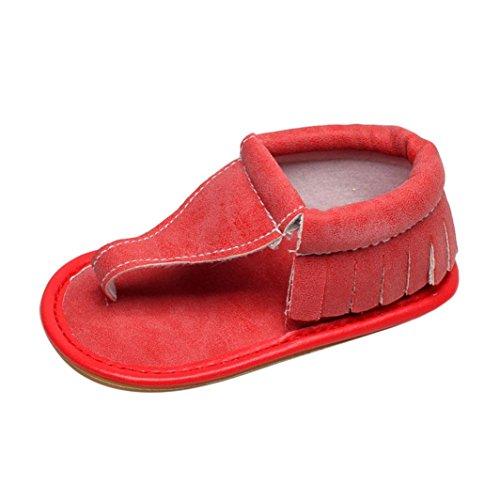 TPulling Mode Sommer Und Frühling�?T-6T﹜Kinder Mode Mädchen﹛Babyschuhe Sandalen﹜Quasten Solide Sohle Krippe Hohl Weiche Schuhe Flache Tanzschuhe Schuhe Turnschuhe Lässige Schuhe Rot