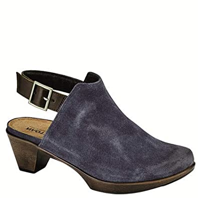 b76d88fa86e4 NAOT Footwear s Women s Upgrade Brushed Midnight Blue Suede Walnut Lthr  Clog ...
