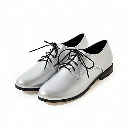 Hecater up Lace Wingtip leather patent Women's oxford 3 Silver Shoes gAwgqR61n