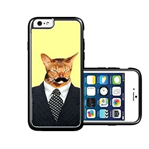 RCGrafix Brand Hipster Cat On Suit Mustache iPhone 6 Case - Fits NEW Apple iPhone 6