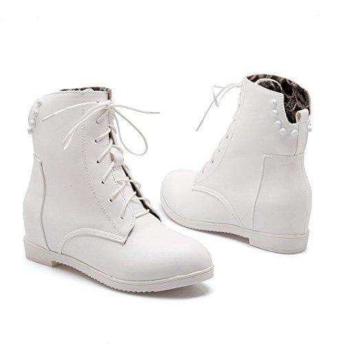 Allhqfashion Women's PU Round Closed Toe Solid Low-Top Kitten Heels Boots White 8U6WlrCm0