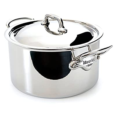 Mauviel Made In France M'Cook 5 Ply Stainless Steel 5231.17 1.9-Quart Stewpan and Lid with Cast Stainless Steel Handle