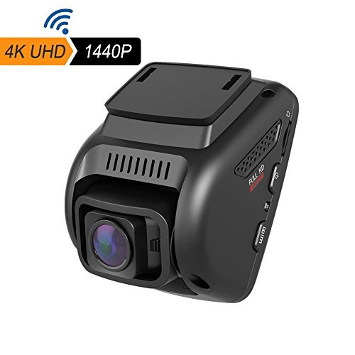 "4K Dash Cam, WiFi Car Dash Cam with Android & iOS App, 2.4"" LCD UHD 2160p 170°Wide Angle Car Dashboard Camera DVR Recorder, Night Vision, G-Sensor, Loop Recording, HDR, Mic and Dual Ports Charger"