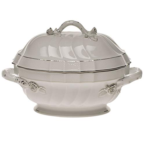 Herend Platinum Edge Porcelain Tureen with Branch Handles