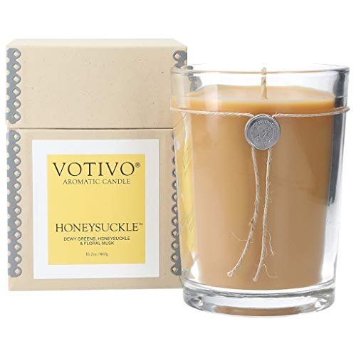 Honeysuckle Home Fragrance - Votivo Honeysuckle 16.2 oz Large Candle - 110 Hour Lifetime Burn Time