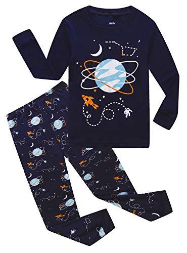 (Space Big Boys Long Sleeve Pajamas 100% Cotton Blue Sleepwear Size 8)