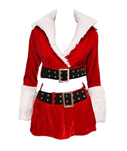 Bslingerie Sexy Women Lingerie Christmas Costume Skirt Set (M, Red) -