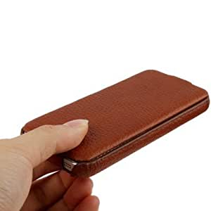 Litchi Texture Vertical Flip Genuine Split Leather Case for iPhone 5 (Brown)