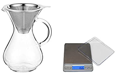 CoastLine Pour Over Coffee Carafe and Digital Pocket Pro Scale Bundle | 4 Cup Coffee Maker with Reusable Stainless Steel Filter | Kitchen Scale Displays Standard or Metric | Make the Best Coffee