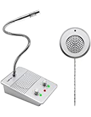 CallToU Window Speaker Intercom System Glass Window Microphone Interphone System Dual-Way Anti-Interference for Bank Hospital Office Store Bus Station Ticket Booth Petrol Station Counter Intercom Silver
