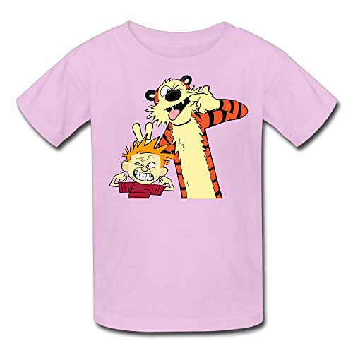 - Radyk56rtyh Kid's 100% Cotton Calvin and Hobbes Style T-Shirt Pink US Size S