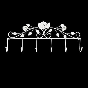 CEEF Grande 55 cm Blanco Hierro Rosas Perchero de toallero ...