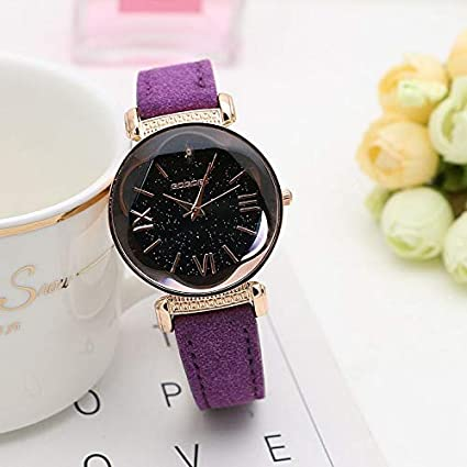 Amazon.com : Embiofuels - Fashion Rose Gold Leather Watches Women Ladies Casual Dress Quartz Wristwatch reloj Mujer [Purple] : Office Products