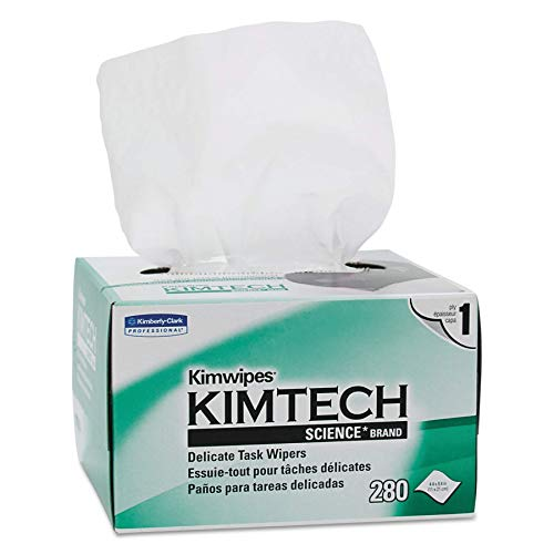 Kimtech 34155CT Kimwipes, Delicate Task Wipers, 1-Ply, 4 2/5 x 8 2/5, 280 per Box (Case of 60 Boxes) (Renewed)