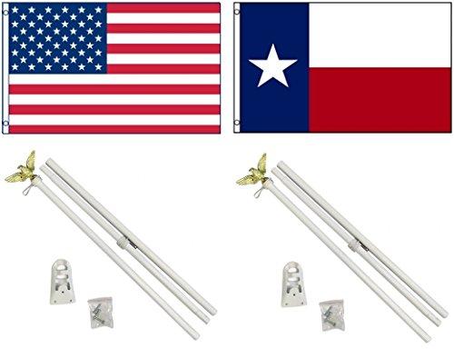 NEW 3'x5' TEXAS & AMERICAN US Flags & 2 POLE KITS