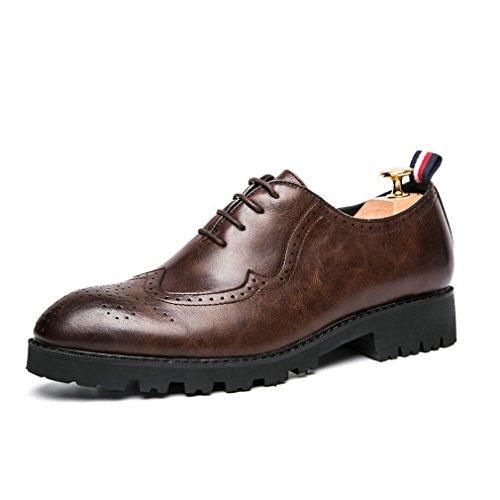 Xianshu accento casual Lace-up scarpe Marrone