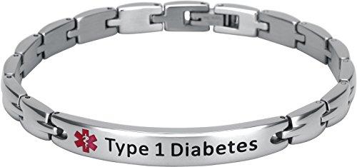 Elegant Surgical Grade Steel Medical Alert ID Bracelet For Men and Women (Women's, Type 1 ()