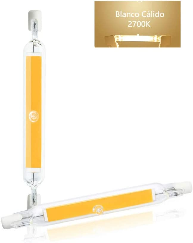 Luxvista R7S 118mm 10W Tubo Lámpara LED COB Bombilla, J118 T3 Luces de Enchufe Horizontal R7S LED, Blanco Cálido 2700K 1000lm Bombilla Tubular Vintage, con Vidrio de alta Transmitancia (2-Unidades)
