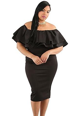 Hot Sale Women's Fashion Layered Ruffle Off Shoulder Curvaceous Dress Plus Size Black - Hot Sexy Black Formal Dress