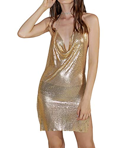 Body Chain Mini Dress - Ingemark Sexy Clubwear Backless Sequin Short Dress for Women Cocktail Metalic Mesh Harness Body Chain Bikini Crystal Collar Necklace (Gold)