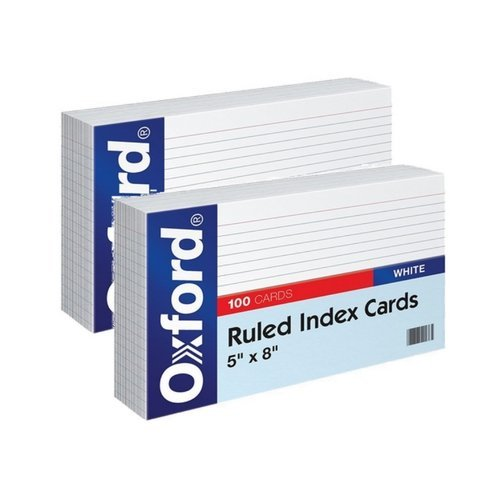 Oxford Ruled Index Cards, 5'' x 8'', White, 100/Pack (51) (2 Pack) by Oxford