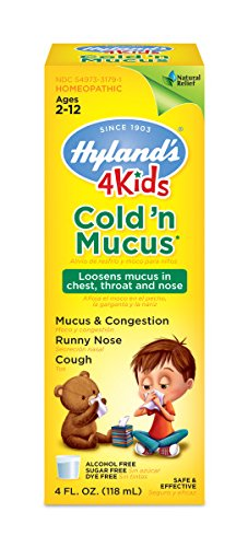 (Hyland's 4 Kids Cold 'n Mucus Relief Liquid, Natural Relief of Mucus & Congestion, Runny Nose, Cough, 4 Ounces)
