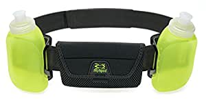 "iPod, iPhone RunLite 2+ hydration waist belt/pack with bottles for water and fuel by Amphipod Black Adjustable 26"" 48"" waist"
