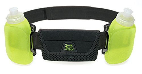 iPod, iPhone RunLite 2+ hydration waist belt/pack with bottles for water and fuel by Amphipod Black Adjustable 26