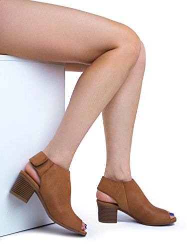 Peep Toe Bootie – Low Stacked Heel - Open Toe Ankle Boot Cutout Velcro Enclosure,Tan Pu,8 B(M) US by J. Adams (Image #5)