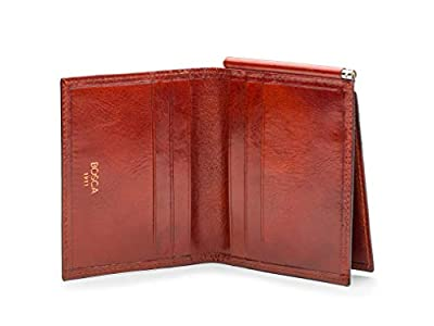 Bosca Leather Money Clip with pocket In Cognac