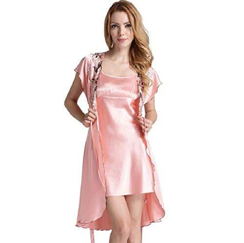 Mujer Simulación Deslizador Mínimo Traje Informal Vestido Bata Casuales De Mujeres De Baño De Dos Piezas Vestido Rosa M: Amazon.es: Ropa y accesorios