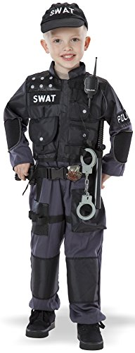 Police Officer Toddler Costumes - Teetot Swat Police Officer Toddler 6 Piece Reflective Costume Size 3-4