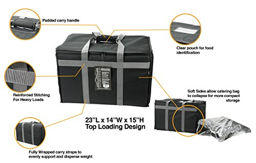Food Delivery Bag - Premium Commercial Grade Made to accommodate Full Size Chafing Steam Trays - Thick Insulation Cooler Bags with Sturdy Padded Handles - Keeps Foods hot or Cold by Nature's Wild (Image #1)