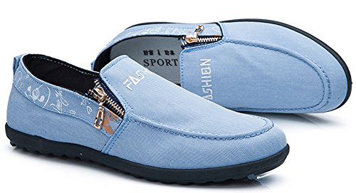 Idifu Hombres Resbalón Resbaloso En Mocasines Zapatos De Lona Con Tapa Baja Plana Azul Claro