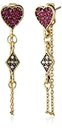 "Betsey Johnson ""Casino Royale"" Pave Heart Front and Back Chain Earrings"