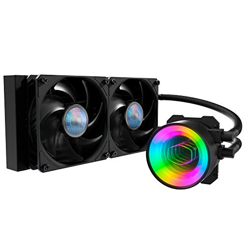 Cooler Master MasterLiquid ML240 Mirror ARGB CPU Liquid Cooler - 3rd Gen. Pump AIO Water Cooling System, 2 x 120mm SickleFlow V2 Fans, Enhanced 240mm Radiator - AMD & Intel Socket Compatible