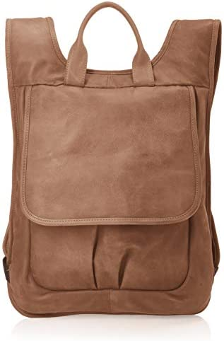 Piel Leather Slim Laptop Flap Backpack, Toffee, One Size