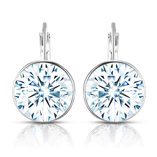 (Unique Royal Jewelry Swarovski Crystal Bella French Wire Clip Pierced Post Drop Designer Earrings. (White))