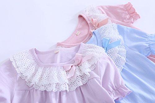 Abalaco Girls Kids Princess Lace Bowknot Nightgown Long Sleeve Cotton Sleepwear Dress Pretty Homewear Dress (6-7 Years, Blue/Short) by Abalaco (Image #2)