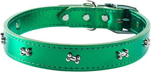 - OmniPet Signature Leather Dog Collar with Bone Ornaments, Metallic Emerald Green, 16