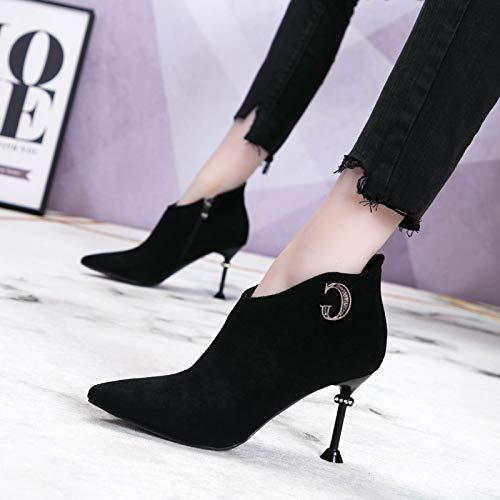 AJUNR Transpirable Zapatos de Mujer Negro Desnudo con Alto Alto Alto 7cm Botas Botas Cortas de Sexy Taladro de Diamante Puntiagudas MA dingxue 34 Negro e737dd