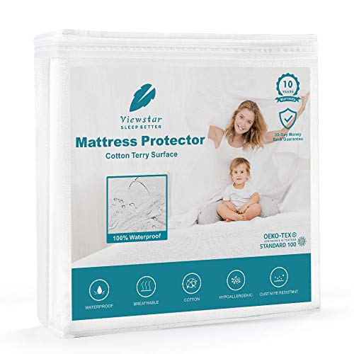 viewstar Waterproof Mattress Protector Queen Size, Organic Mattress Protection Bed Cover with Breathable Cotton Surface and Vinyl Free TPU, Hypoallergenic Noiseless18 inch Deep Pocket