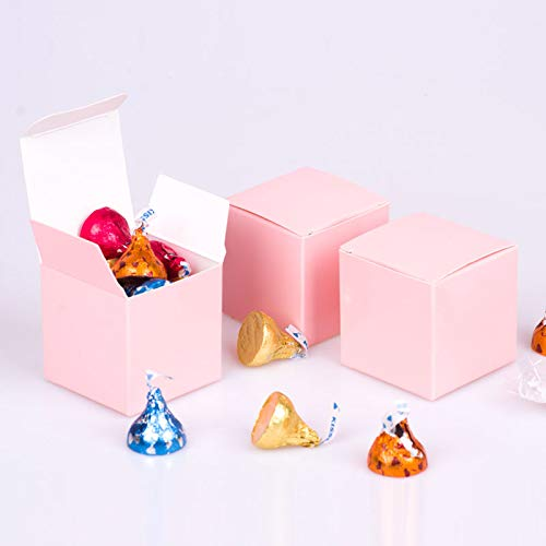 (We Moment Pink Candy Box 2 x 2 x 2 inch,Small Square Paper Box,for Holiday Celebration Party Supplies Decorations,Pack of 50)
