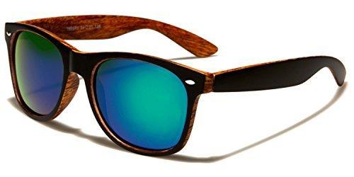 madera One turquesa negro Size Retro GRATIS INCLUIDO UV400 Estampado Conducción Cabaña Reflectante Bolsa Protección lentes naranja Sol VIBRANT Deporte Madera Unisex Clásico COMPLETO De Gafas gwqAUR1