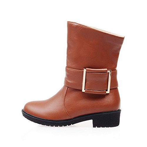 AmoonyFashion Womens Soft Material Pull-On Round Closed Toe Low-Heels Low-Top Boots Brown BNwYv
